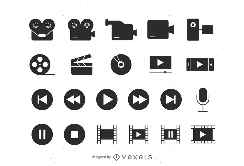 837x570 Flat Video Icons Collection