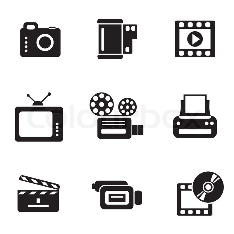 800x800 Set Vector Computer Icons Of Photo And Video Stock Vector
