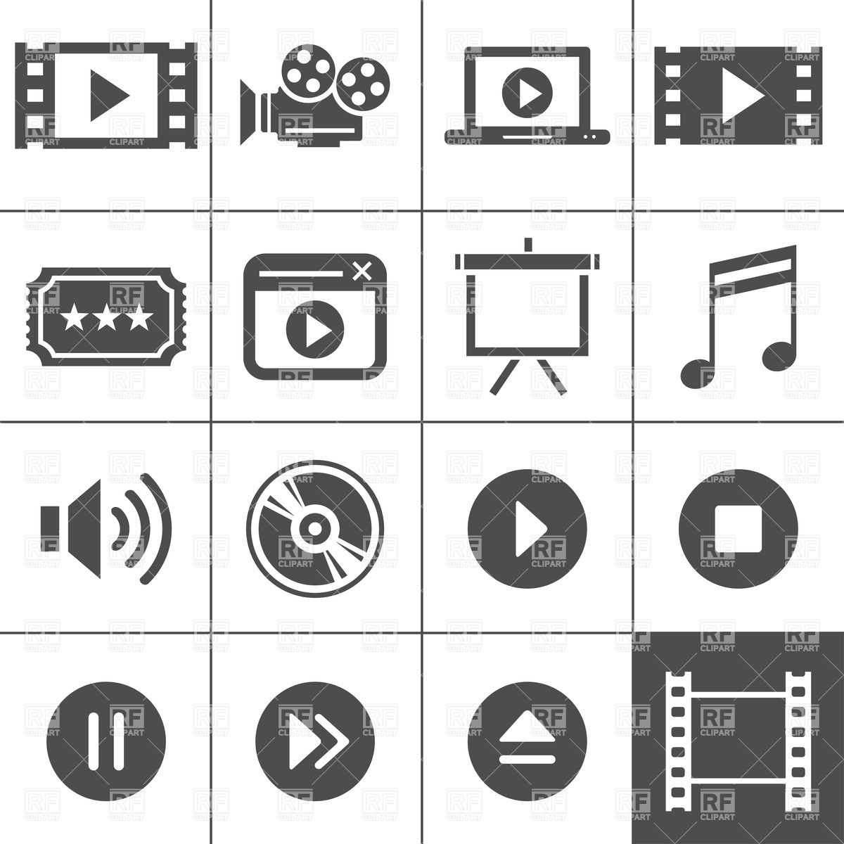 1200x1200 Video And Cinema Icon Set Vector Image Vector Artwork Of Icons