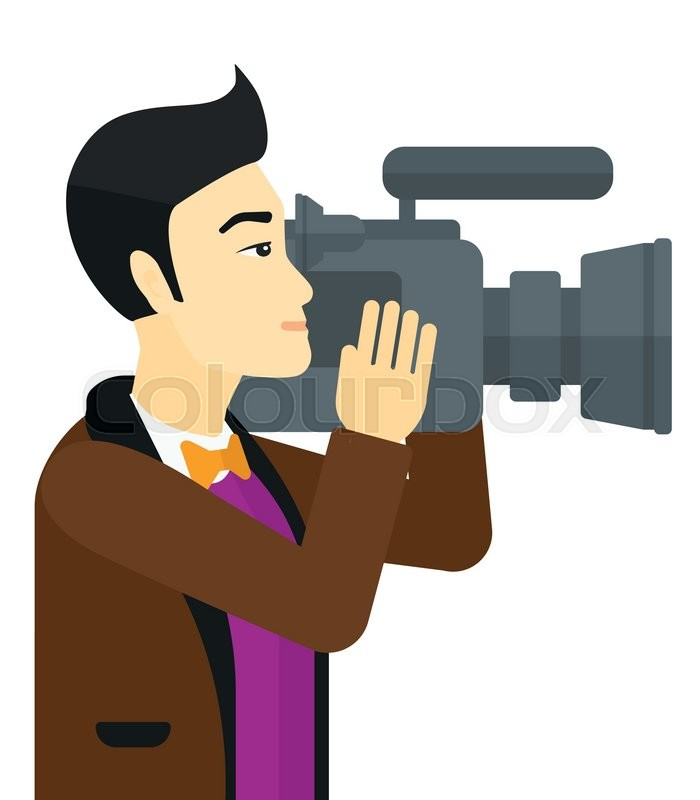 700x800 An Asian Cameraman With Video Camera Taking A Video Vector Flat