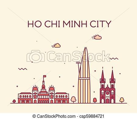 450x393 Ho Chi Minh City Saigon Skyline Vietnam Vector. Ho Chi Minh City