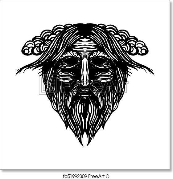 561x581 Free Art Print Of Ancient Viking Head Illustration. Ancient Viking