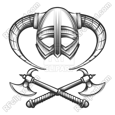 400x400 Viking Helmet With Horns And Crossed Viking Axes Drawn In