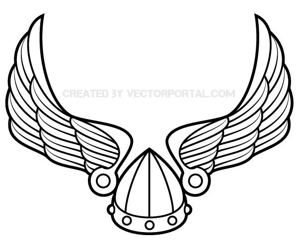 600x500 Winged Viking Helmet Vector Art 123freevectors