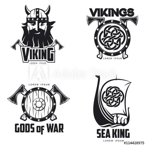 500x500 Scandinavian Viking Set Of Logos, Vector Illustration Outline