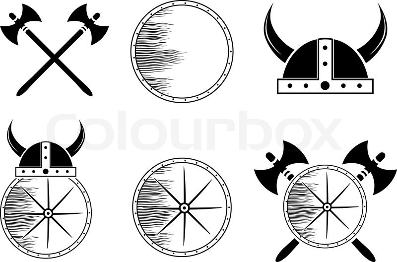 800x528 Attribute Viking Set Shield, Helmet, Axe Silhouettes Stock