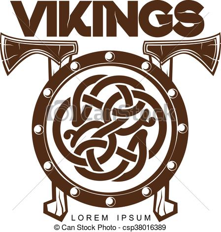 449x470 Viking Battle Shield With Axes, Vector Illustration Of A Simple