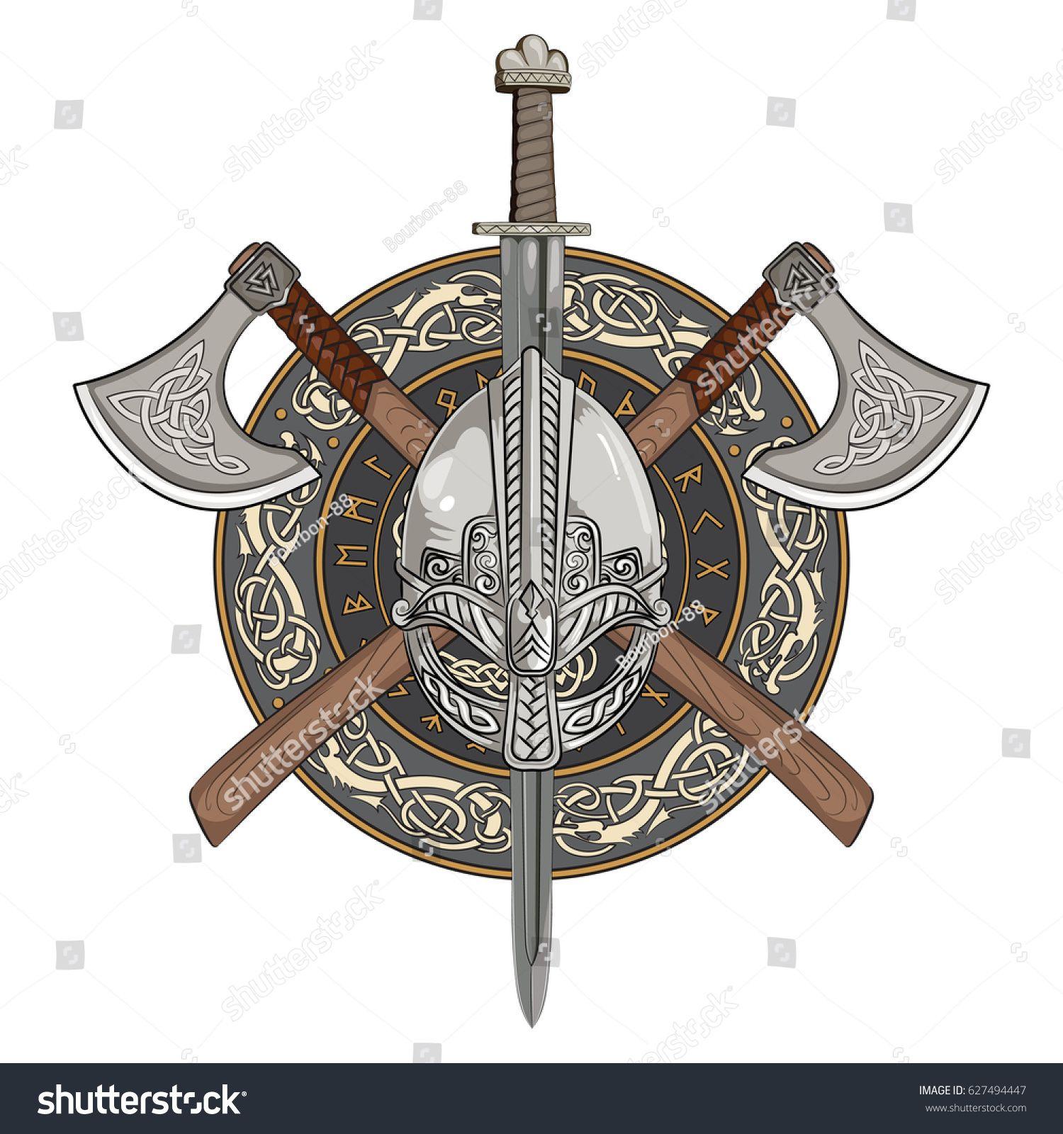 1500x1600 Viking Helmet, Crossed Viking Axes And In A Wreath Of Scandinavian