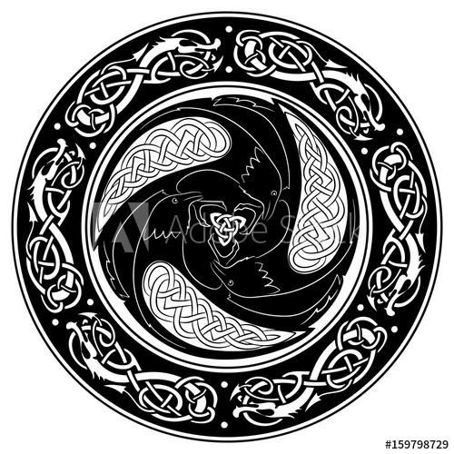500x500 Viking Shield, Decorated With A Scandinavian Pattern And Ravens Of