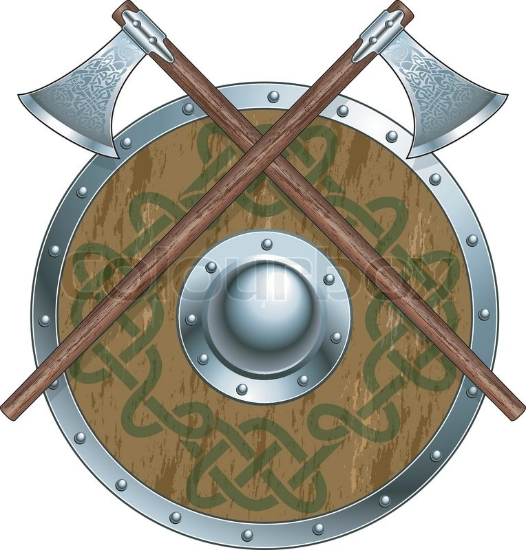 764x800 Viking Shield With Crossing Battle Axes Stock Vector Colourbox