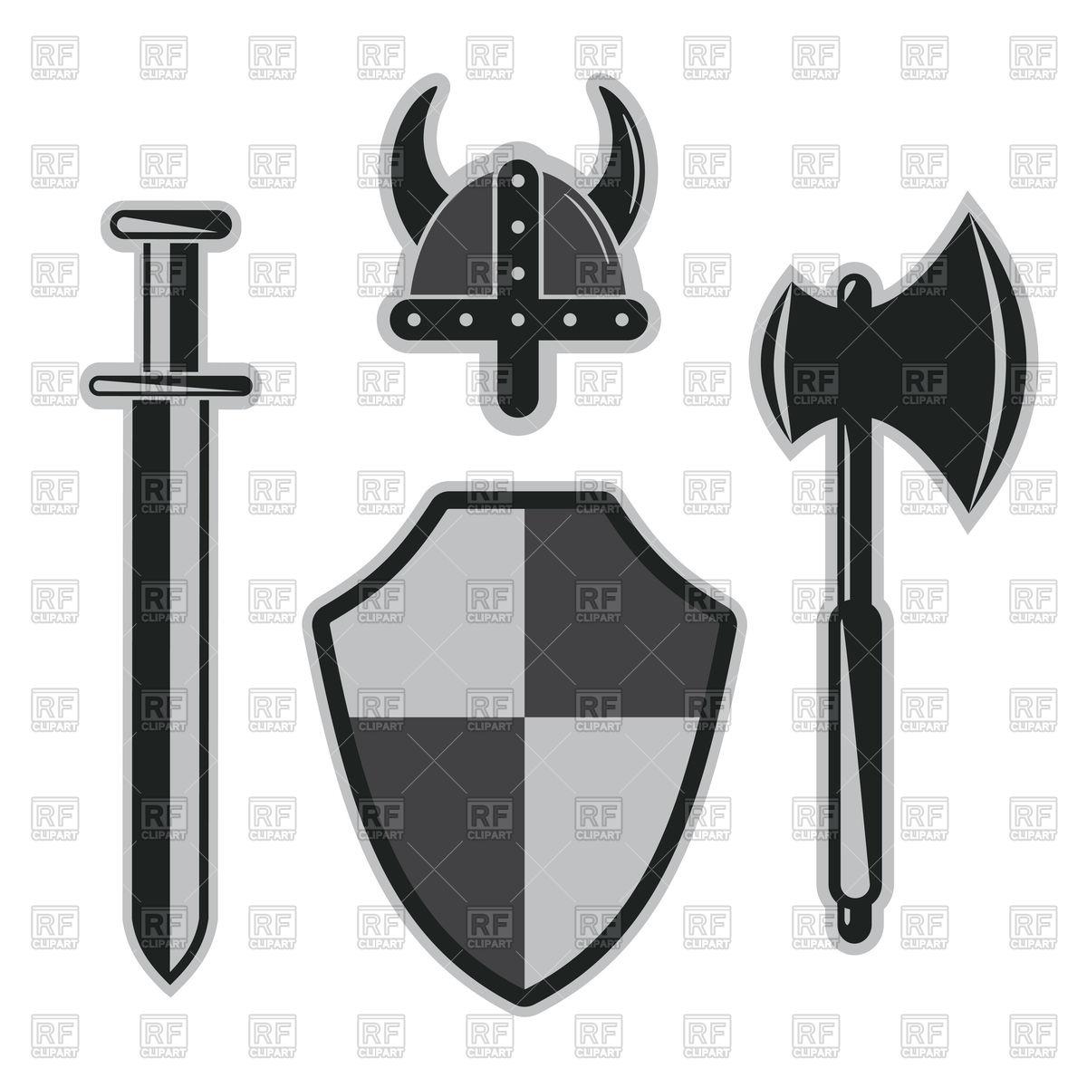 1200x1200 Viking Sword, Helmet, Shield Vector Image Vector Artwork Of