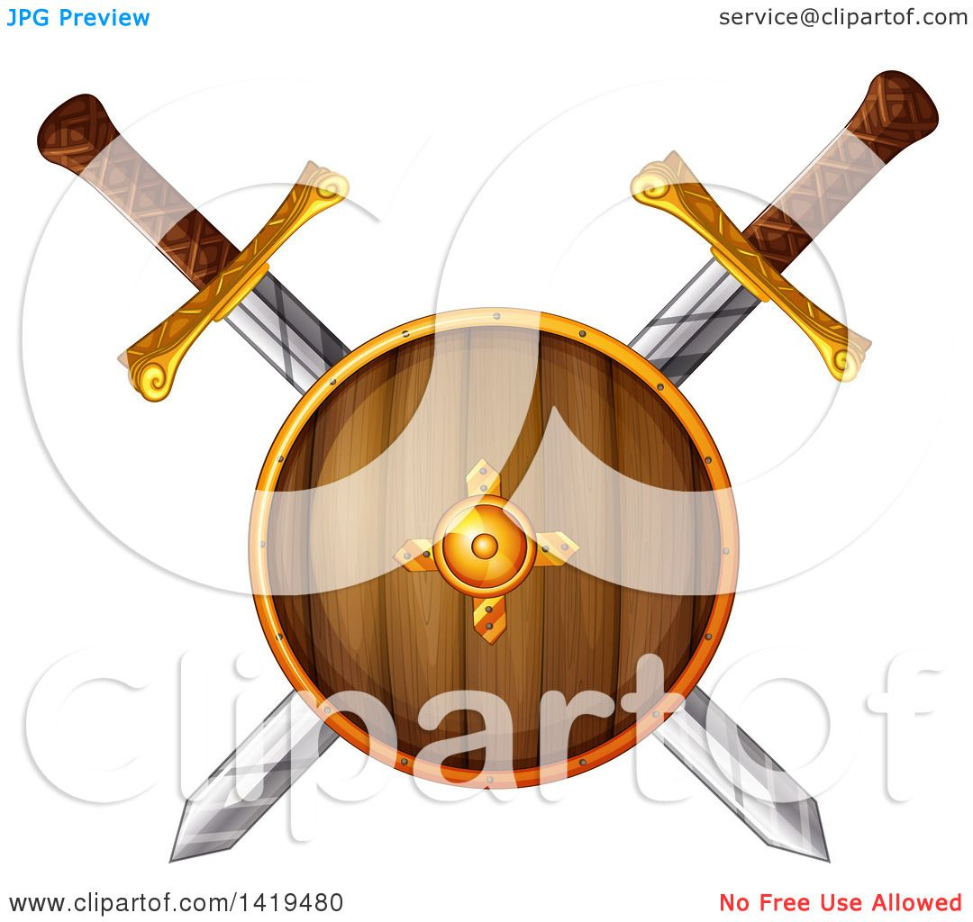 1080x1024 Clipart Of A Wooden Viking Shield Over Crossed Swords
