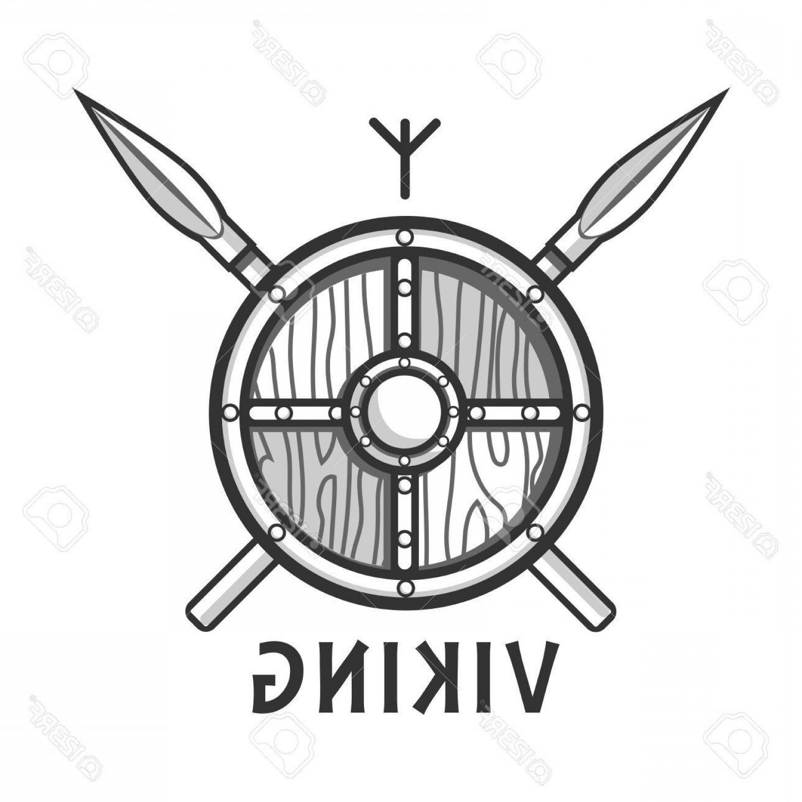 1560x1560 Photostock Vector Vikings Shield With Two Crossed Spears And Small