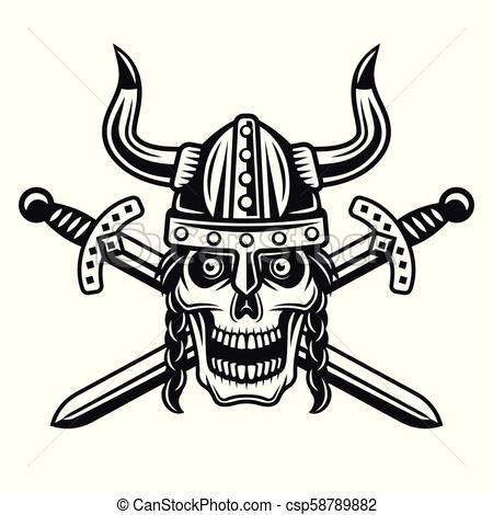 450x470 Viking Skull In Horned Helmet With Crossed Swords. Viking Skull In