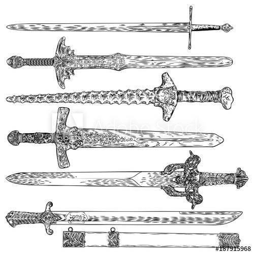 500x500 Knife, Dagger, Sword. Ancient Europe Weapon Set. Viking Sword