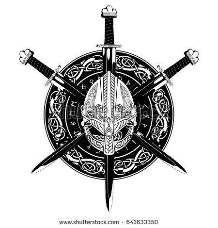 450x470 Viking Helmet, Crossed Viking Sword And In A Wreath Of