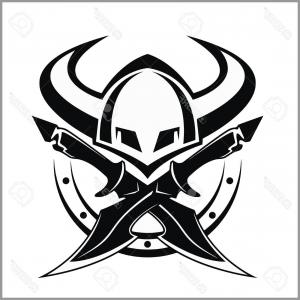 300x300 Photostock Vector Viking Warrior Emblem Vector Illustration