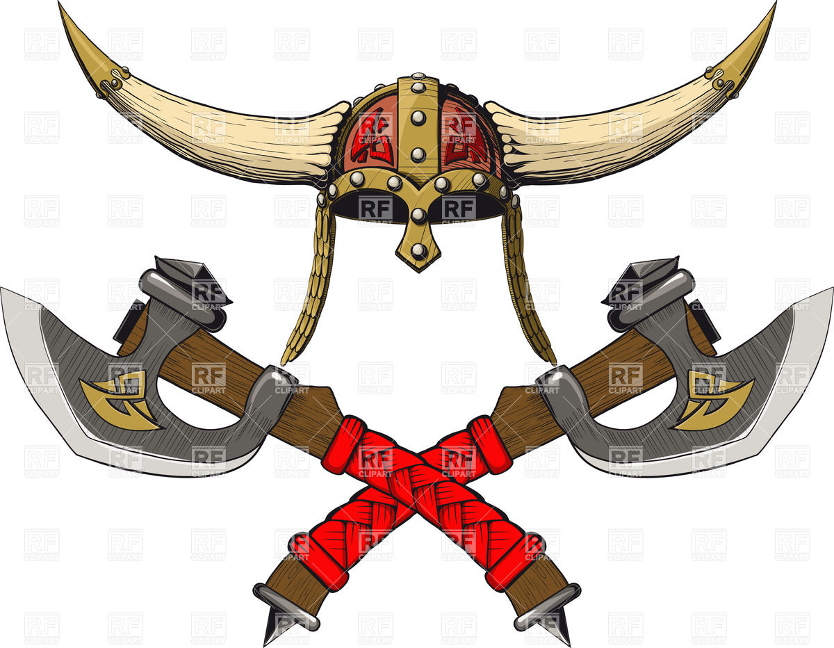 1200x932 Viking Horned Helmet With Two Crossed Barbarian Axes Vector Image