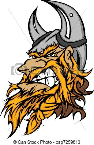 307x470 Cartoon Viking Mascot Head. Viking Norseman Head With Helmet