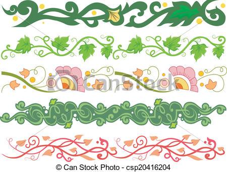 450x342 Vine Borders. Border Illustration Featuring Different Vine Styles.