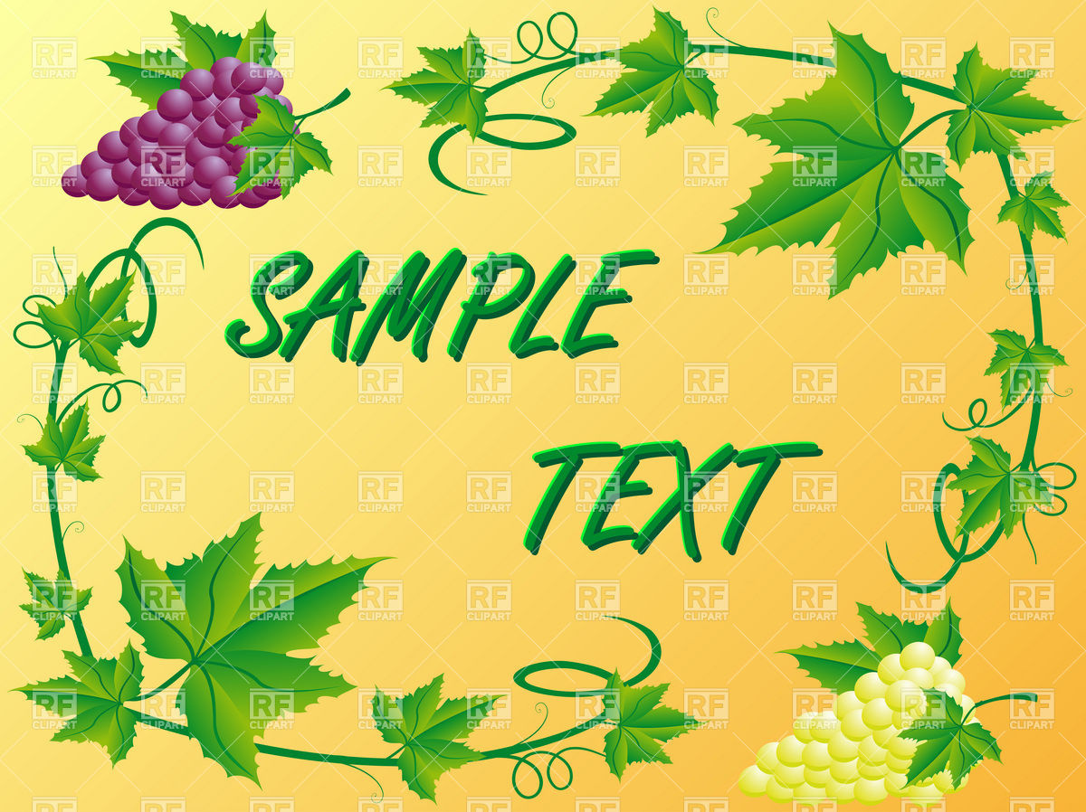 1200x898 Decorative Vine Border With White And Red Bunches Of Grapes And