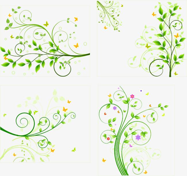 650x612 Green Flower Vine Pattern Vector, Green Vector, Flower Vector