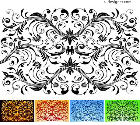460x410 4 Designer Classical Flower Vine Pattern Vector Material