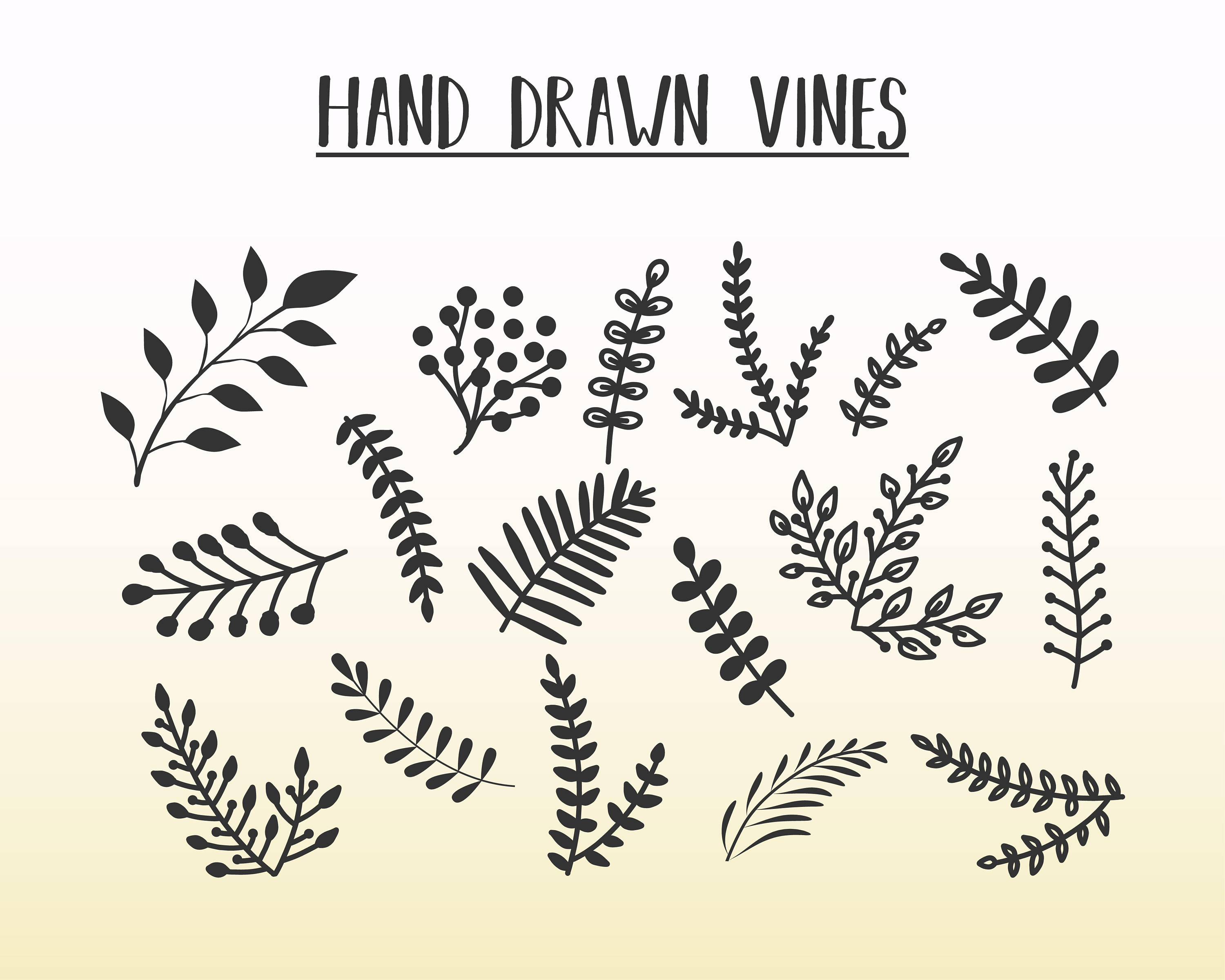 3000x2400 Hand Drawn Vines Vines Svg Dxf Vines Vector Eps Png Etsy