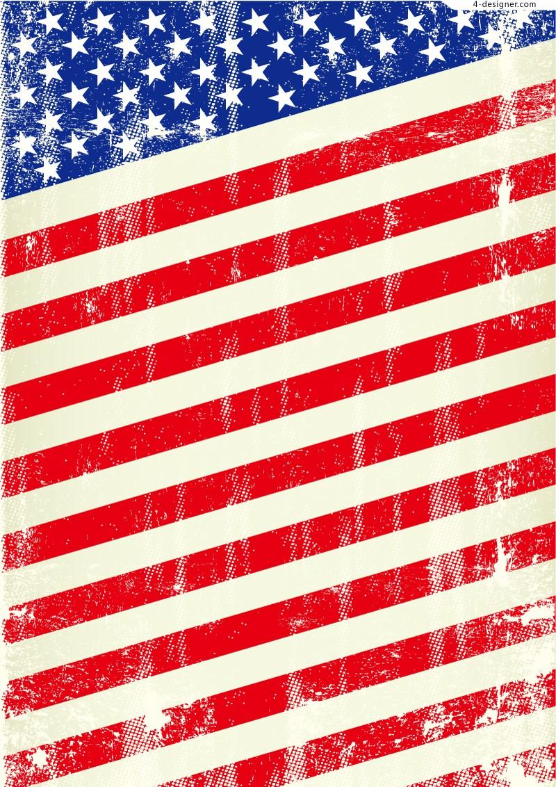 800x1132 4 Designer Retro American Flag Design Vector Material