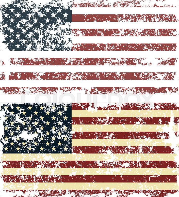 727x800 Old Scratched Flag. Vector Illustration Of Vintage Usa Flag