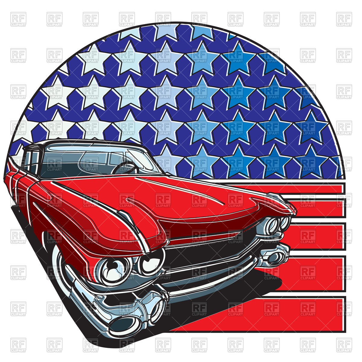 1200x1200 Retro Red Car On American Flag Vector Image Vector Artwork Of