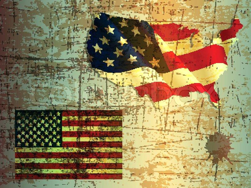 800x600 Vintage American Flag Grunge Background Of United States And