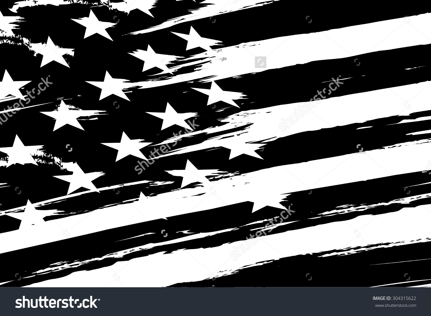 1500x1100 Vintage American Flag Clipart Black And White