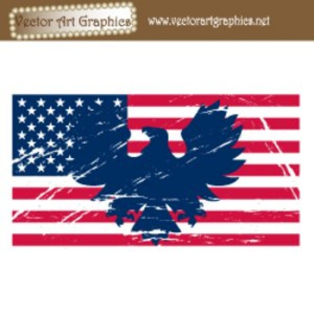 626x626 American Flag Vector Art With Blue Eagle And White Stars