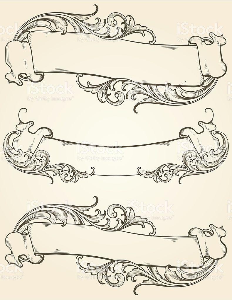 790x1024 Designed By A Hand Engraver. Vintage Banner Set With Highly