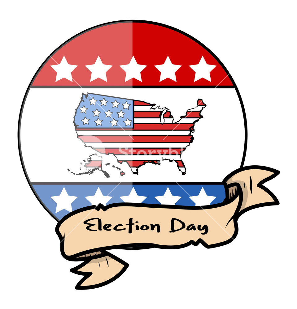 959x1000 Election Day Glossy Design Vector With Vintage Banner Royalty Free