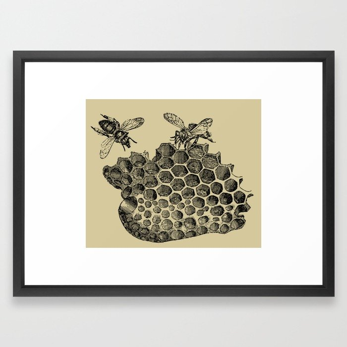700x700 Vintage Bee Amp Honeycomb Framed Art Print By Bluespecsstudio Society6