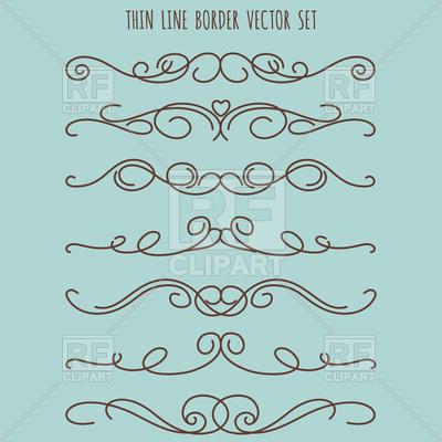 400x400 Hand Drawn Vintage Thin Line Border Set Vector Image Vector