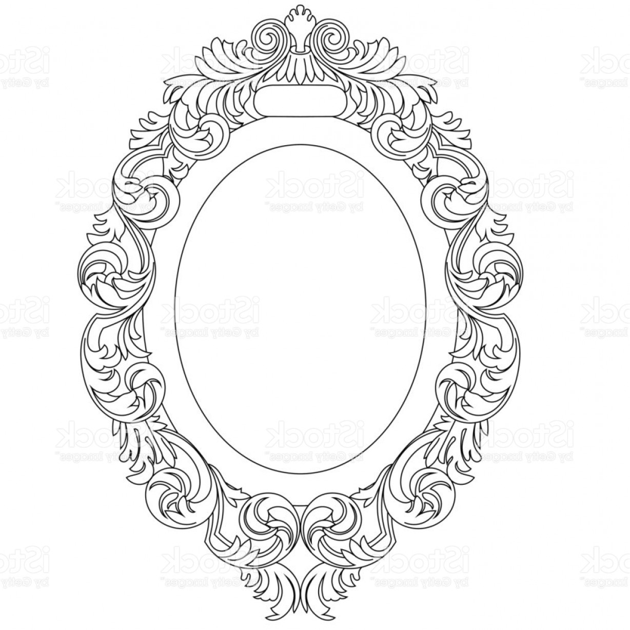 1228x1228 Oval Vintage Border Frame Engraving With Retro Ornament Pattern In