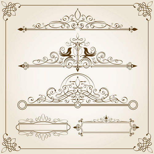 500x500 Vintage Calligraphic Frames With Border Vector 02 Free Download