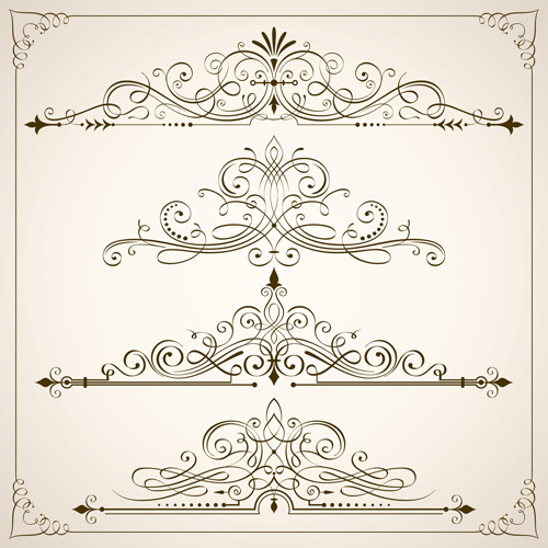 500x500 Vintage Calligraphic Frames With Border Vector 05 Free Download