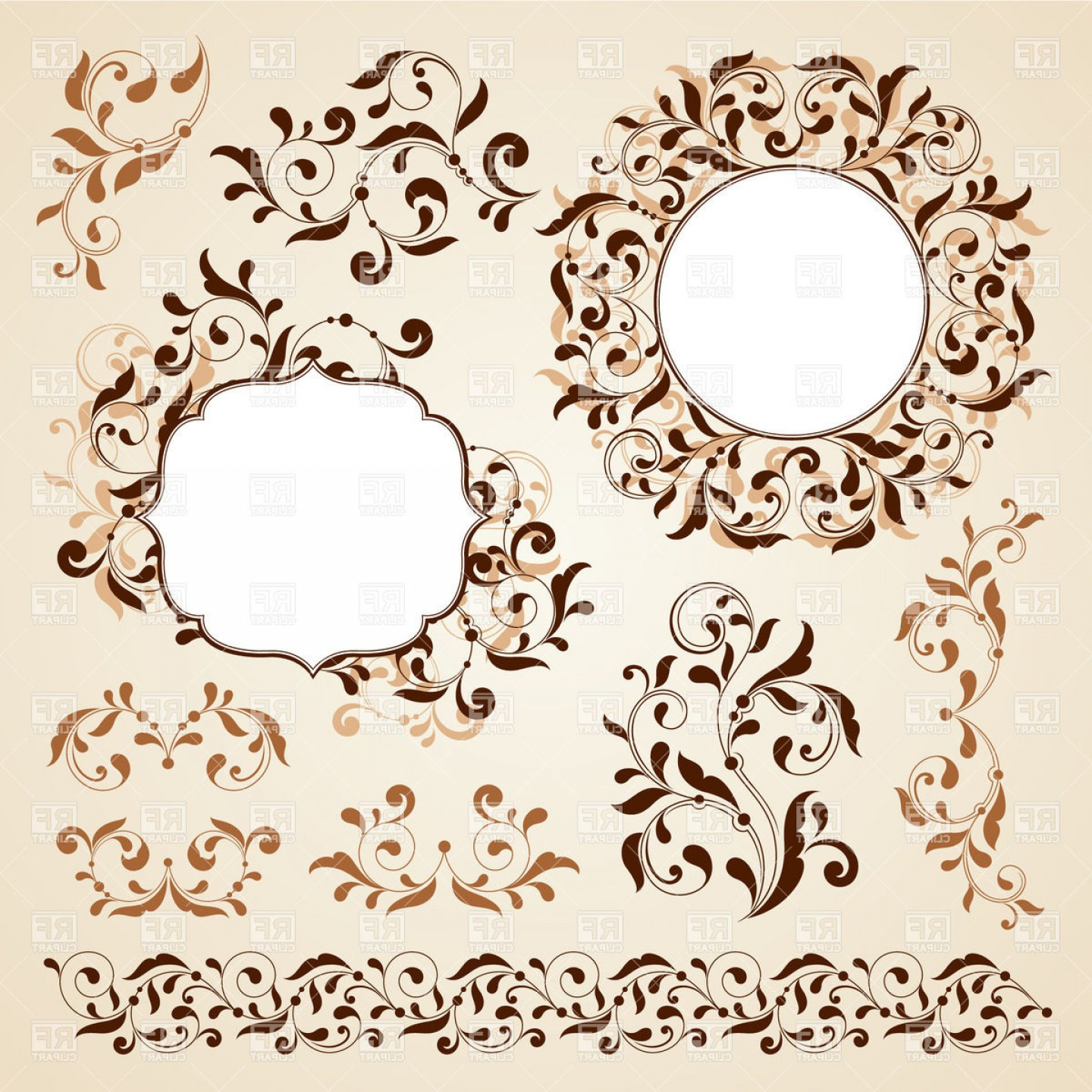1440x1440 Curly Vintage Vignettes And Borders Vector Clipart Sohadacouri