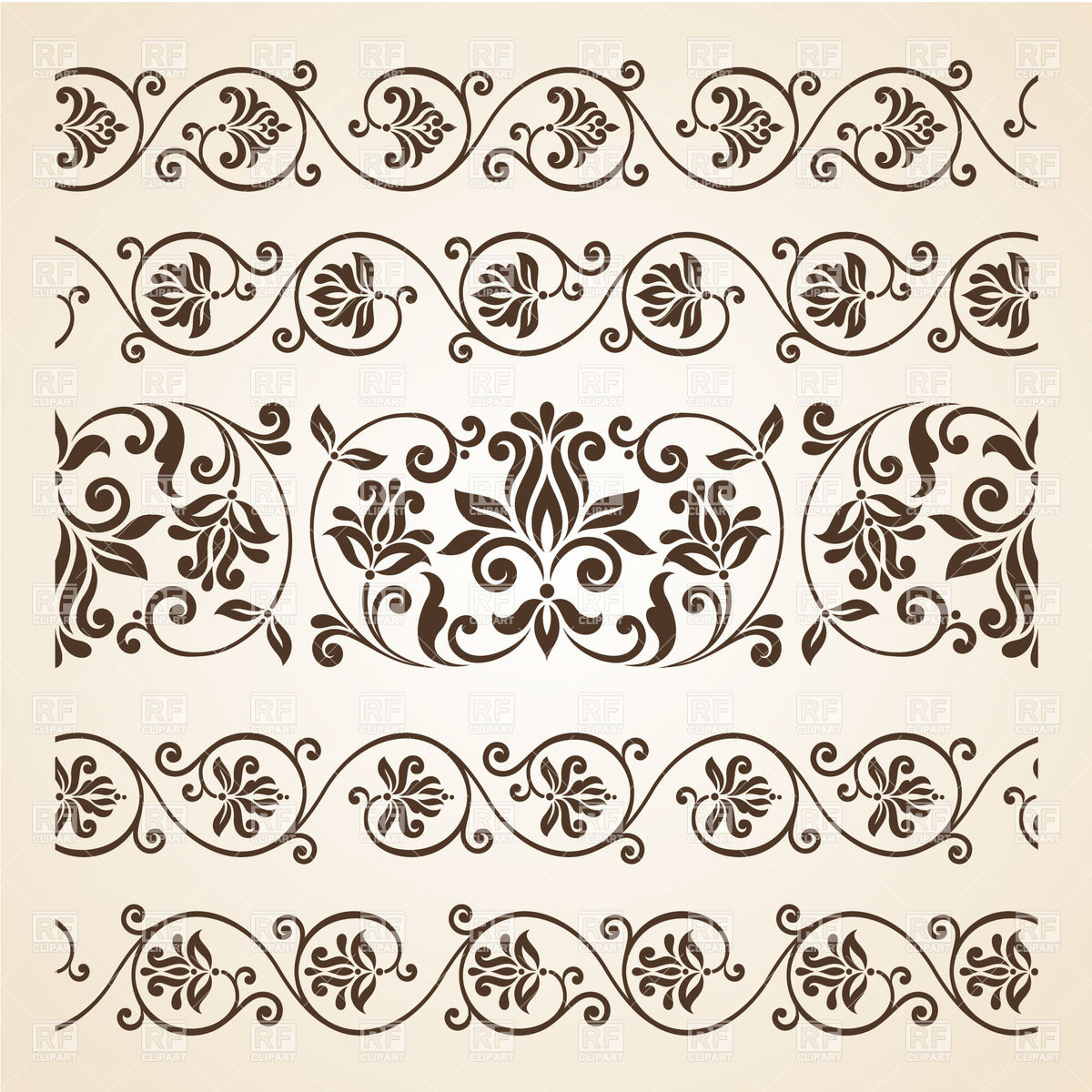 1200x1200 Collection Of Vintage Floral Borders Vector Image Vector Artwork