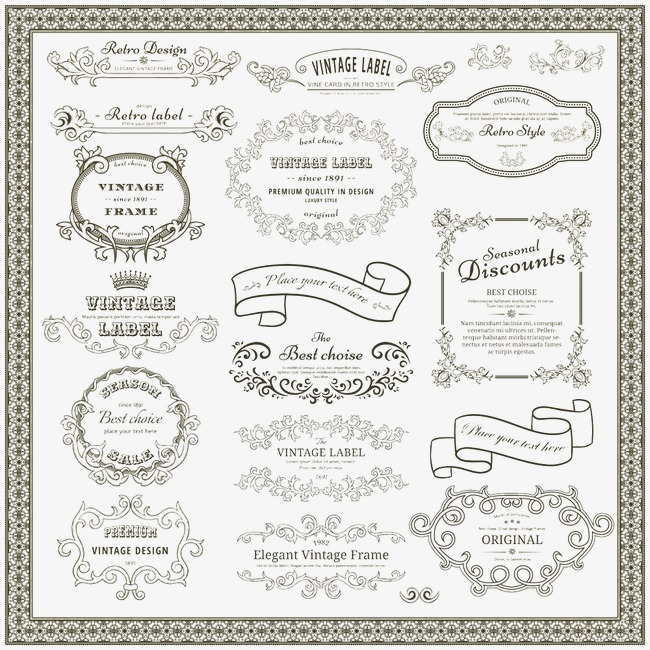 650x650 Vector Vintage Border, Continental, Frame, Pattern Png And Vector