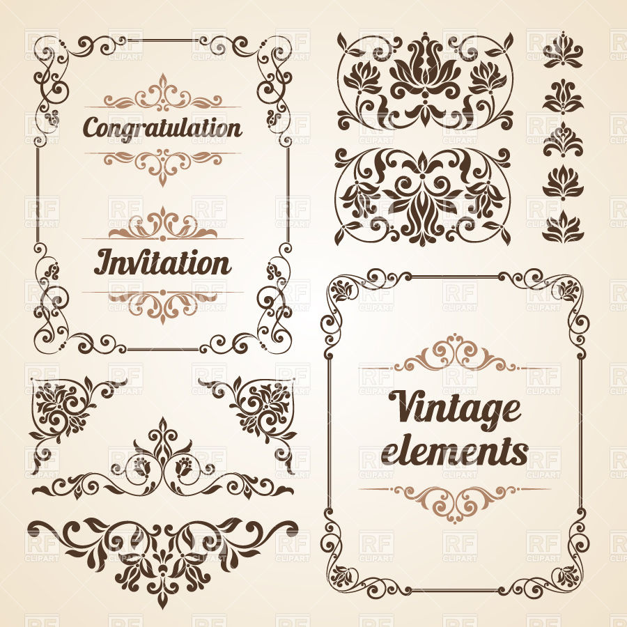 900x900 Vintage Borders, Ornate Classic Frames And Curly Vignettes Vector