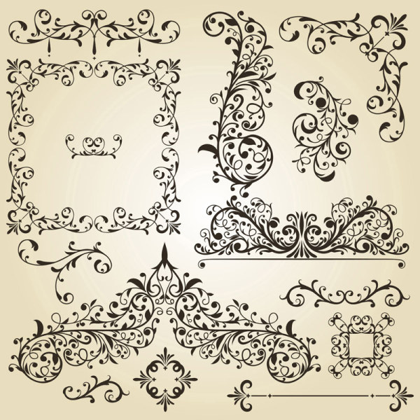 600x600 Vintage Floral Accessories And Borders Vector 03 Free Vector