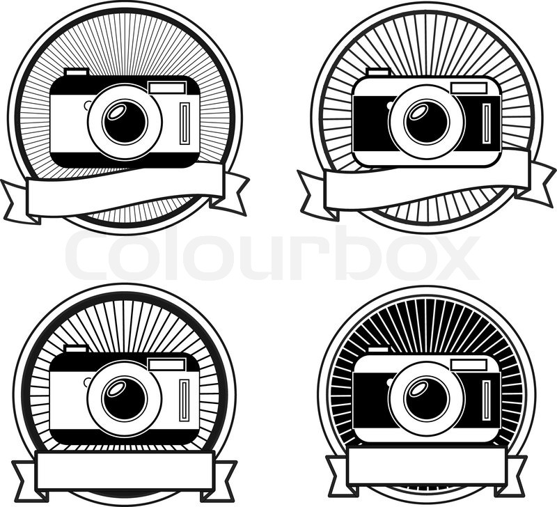 800x728 Black And White Camera Stamps Vintage Icons Stock Vector Colourbox