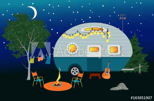 500x328 Cartoon Travelling Night Scene With A Vintage Camper, A Fire Pit