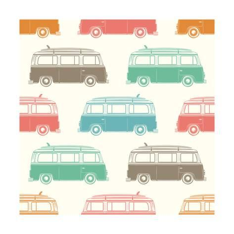 473x473 Retro, Vintage, Travel, Camper Van, With Surfing Board, Seamless