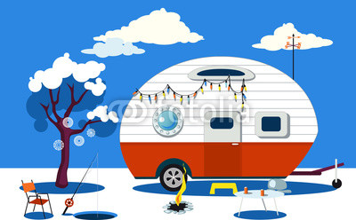 400x248 Winter Travelling Scene With A Vintage Camper, A Fire Pit, Fishing